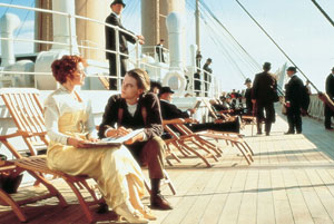 "Leonardo DiCaprio and Kate Winslet star in ""Titanic"""