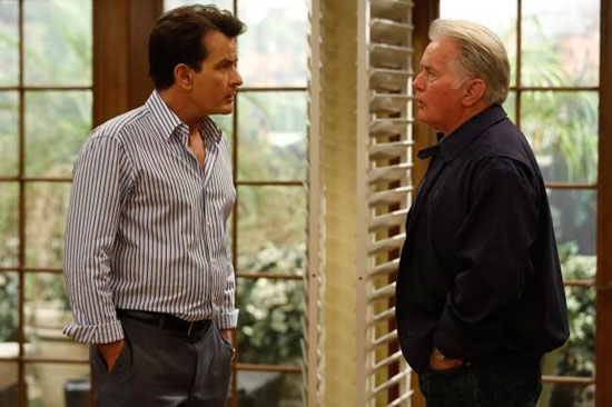 "Martin Sheen drops by to visit his son Charlie Sheen in an episode of FX's ""Anger Management."""