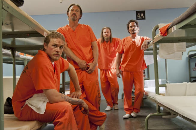 "Charlie Hunnam, Tommy Flanagan, Ryan Hurst and Kim Coates star in FX's ""Sons of Anarchy"""