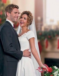 A Bride for Christmas on Hallmark Channel stars Arielle Kebbel and Andrew Walker