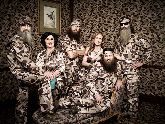 "Uncle Si, Miss Kay, Jase, Korie, Willie and Phil Robertson of A&E's ""Duck Dynasty"""