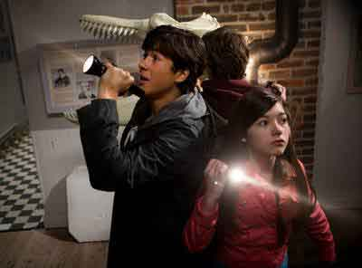 "Keean Johnson (left) and Katie Douglas star in The Hub Network's ""Spooksville."""