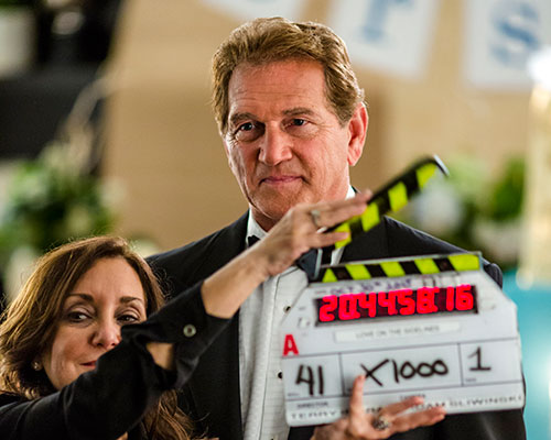 Joe Theismann gets ready for his close-up on the set of Love on the Sidelines  Credit: Photographer: Eike Schroter