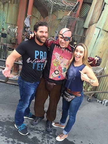 Joey Ryan and his fiancee, Laura James, recently visited Christopher Daniels at Universal Studios Hollywood.  (Photo Courtesy: Joey Ryan)